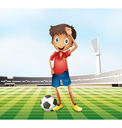 A male soccer player at the field vector image vector image