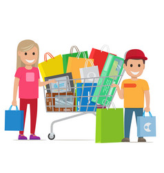 big shopping day of happy couple cartoon people vector image vector image