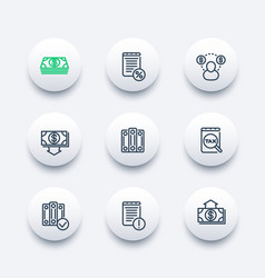 bookkeeping line icons set vector image vector image