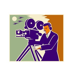 Cameraman Film Crew Vintage Video Movie Camera vector image vector image