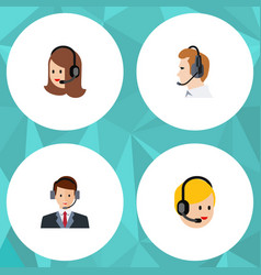 flat telemarketing set of service call center vector image