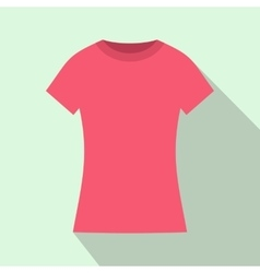 Pink t shirt icon flat style vector image