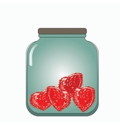 prickly hearts stored in a glass jar vector image