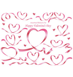 set of assorted heart-shaped pink ribbons vector image vector image