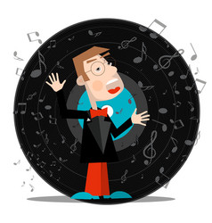singer with vinyl record music symbol with notes vector image vector image