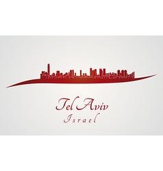 Tel aviv skyline in red vector