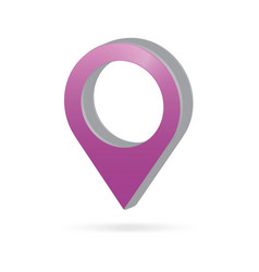 3d metal purple map pointer icon marker gps vector