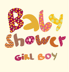 baby shower lettering party vector image