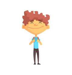 curly boy in blue t-shirt smiling primary school vector image vector image