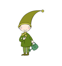 cute little gnome with clover and watering vector image vector image