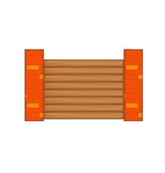 Fence with brick pillars icon cartoon style vector image