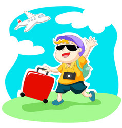 happy traveller with luggage and airplane vector image