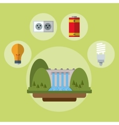 hydroelectric power station battery bulb ecology vector image