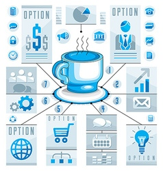 Infographics concept with hot cup of tee or coffee vector image