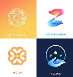 logo design templates in bright gradient colors vector image vector image