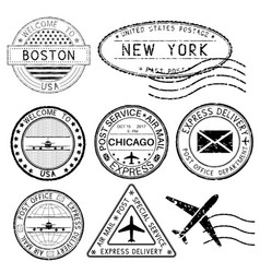 postmarks and travel stamps usa cities vector image