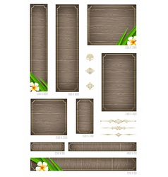 Wooden backgrounds with tropical flowers vector image vector image
