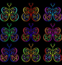 Butterflies of the springs and zigzags vector image vector image