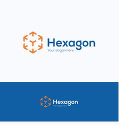 hexagon company logo vector image vector image