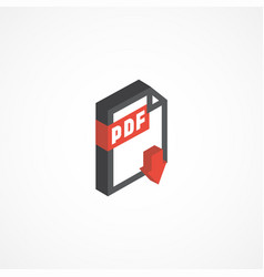 pdf isometric icon 3d vector image vector image