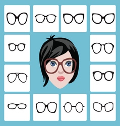 set of different women icons in glasses vector image