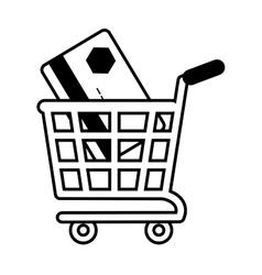 shopping cart online credit card bank outline vector image