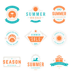Summer season sale badges and tags design vector