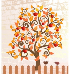 apple trees after rain fall vector image vector image