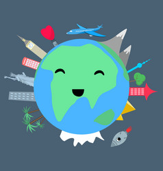smiling planet earth on dark background vector image vector image