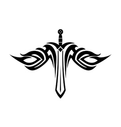 Sword tattoo with flowing wings vector image