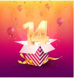 14 th years anniversary design element vector