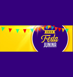 2020 festa junina celebration banner with text vector image