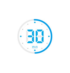 30 minute timer clock stopwatch isolated blue vector