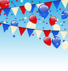 American background with balloons in blue sky vector