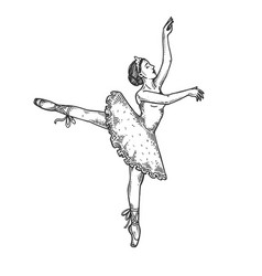 Ballet dancer woman engraving vector