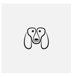Basset hound dog line head face logo design icon vector