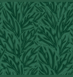 beautiful seamless background with green leaves vector image