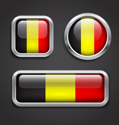 Belgium flag glass buttons vector image