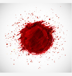 Big red grunge circle with splashes of paint on vector
