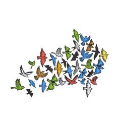 Birds flying in form arrow sketch engraving vector
