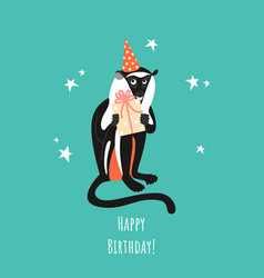 Birthday greeting card with a funny monkey vector