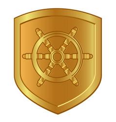 boat steering wheel symbol in golden shield logo vector image