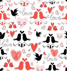 Bright graphic pattern of love birds and hearts vector