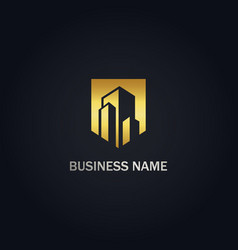building cityscape realty company gold logo vector image