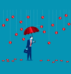 business under a coin rain concept business vector image