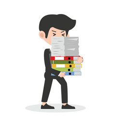 businessman holding a lot documents vector image