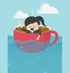 Businesswoman on boat rowing like coffee cup in vector
