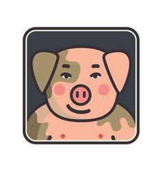 Cartoon animal head icon pig face avatar for vector