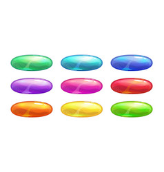 Cartoon colorful glossy oval buttons set vector