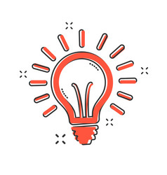 cartoon light bulb icon in comic style lighting vector image